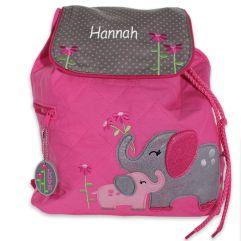 Personalisierter pinker Kinderrucksack Elefanten mit Name