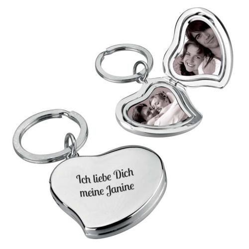 Personalisierter Schlüsselanhänger Herz - doppelt