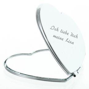 Personalisierter Spiegel in Herzform