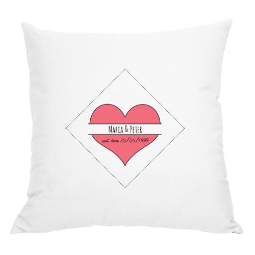 Personalisiertes Kissen romantisches Herz weiß