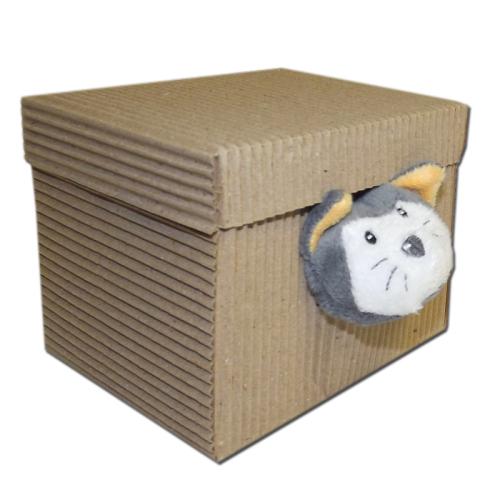 Personalisiertes Schmusetuch Katze mit Stiefel Box
