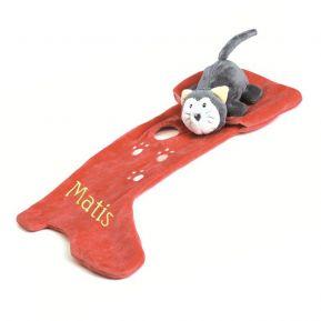 Personalisiertes Schmusetuch Katze mit Stiefel