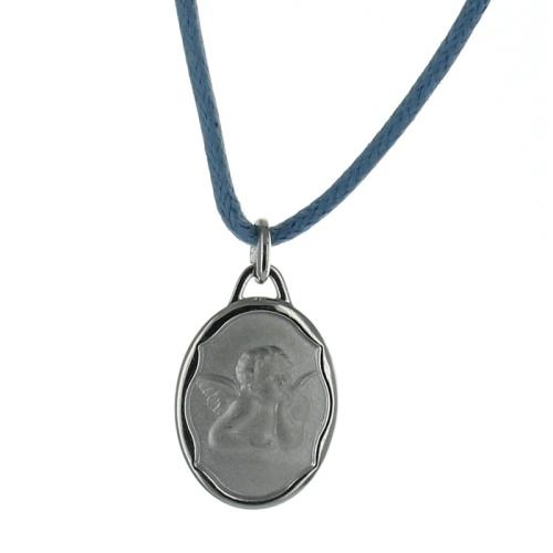Personalisiertes Tauf-Medaillon Engel silber