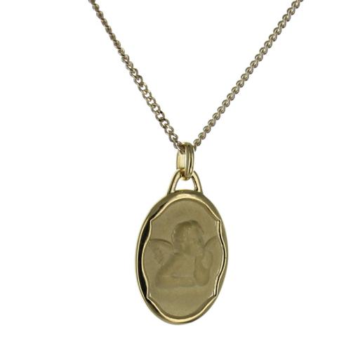 Personalisiertes Tauf-Medaillon Engel vergoldet