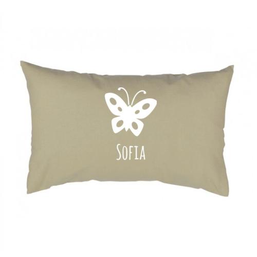 Rechteckiges Kissen beige mit Schmetterling
