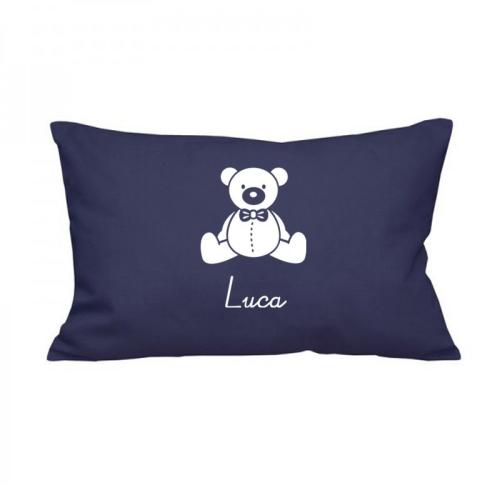 Rechteckiges Kissen blau mit Teddy