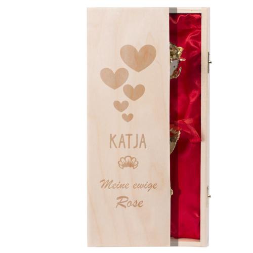 Koffer mit goldener Rose und Gravur