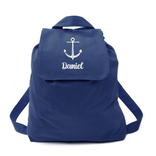 Rucksack für Kinder marineblau Anker