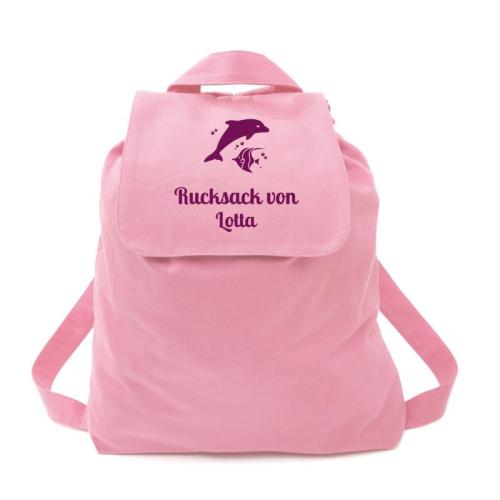 Rucksack für Kinder rosa Delfin