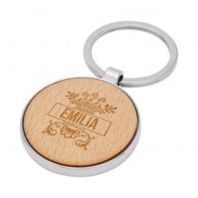Schlüsselanhänger rund aus Holz mit Personalisierung