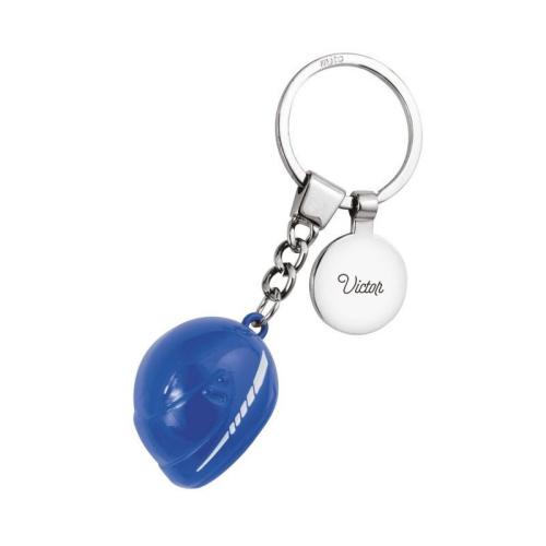 Gravierter Schlüsselanhänger - Motorradhelm blau