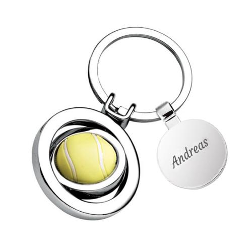 Schlüsselanhänger Tennisball mit Name