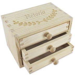 Schmuckkasten 3 Schubladen mit Gravur