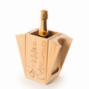 Sekt-Kiste / Flaschenkühler mit Gravur