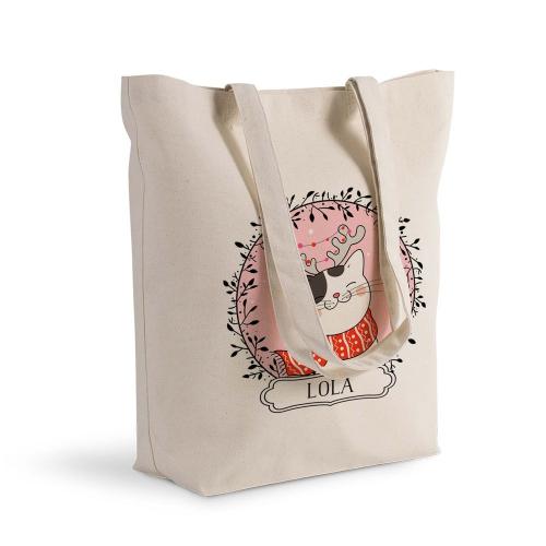 Shoppingtasche Katze mit Lichterkette Weihnachtsparty
