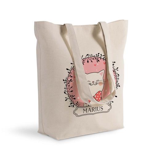 Shoppingtasche Katze mit Schleife Weihnachtsparty