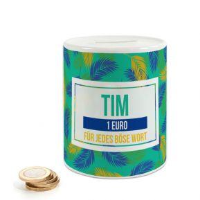 Personalisierte Keramik-Spardose im Palmendesign