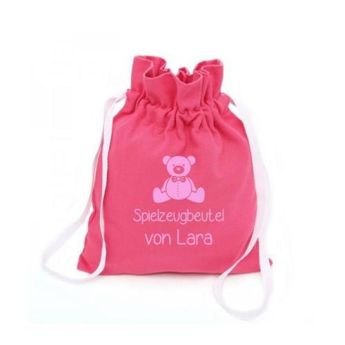 Spielzeugbeutel pink Bär