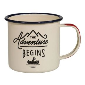 "Emaillierte Tasse ""The Adventure Begins"" creme"