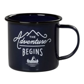 "Emaillierte Tasse ""The Adventure Begins"" dunkeblau"