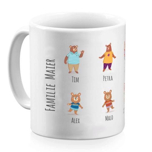 Tasse Bärenfamilie personalisiert