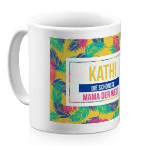 Personalisierte Tasse mit Palmendesign