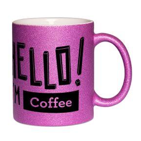 Personalisierte Tasse mit Pailletten HELLO