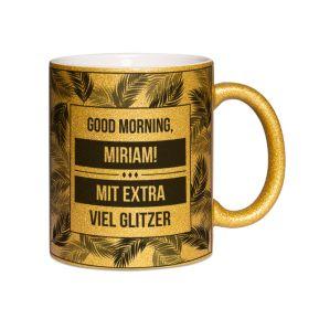 Personalisierte Tasse mit Pailletten Palmendesign