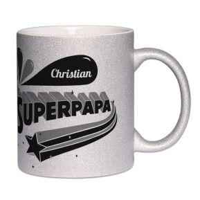 Personalisierte Tasse mit Pailletten Superpapa