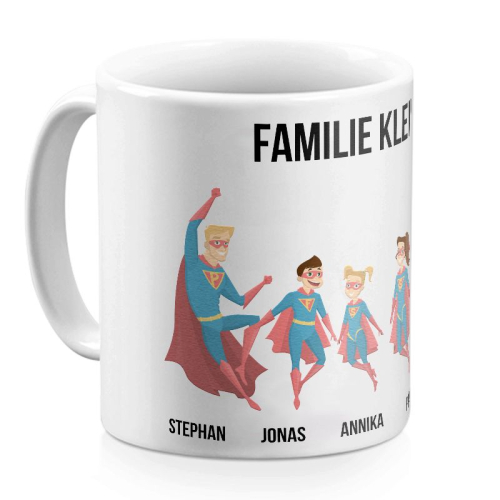 Tasse Superhelden weiss