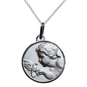 Taufmedaillon Engel mit Friedenstaube Silber mit Gravur