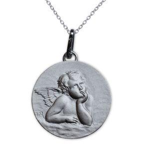 Taufmedaillon Engel Raffael Silber mit Gravur