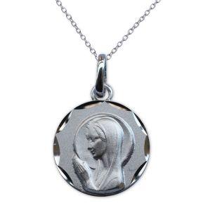 Taufmedaillon Jungfrau Maria im Gebet Silber mit Gravur