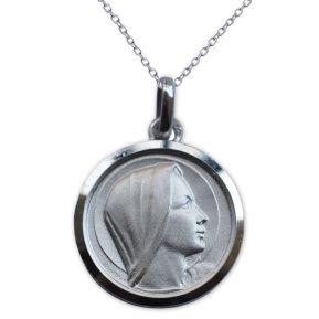 Taufmedaillon Jungfrau Maria Silber mit Gravur