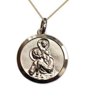 Vergoldetes Taufmedaillon Heiliger Christophorus mit Gravur