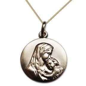 Vergoldetes Taufmedaillon Maria mit Jesuskind mit Gravur