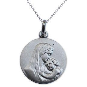 Taufmedaillon Maria mit Jesuskind Silber mit Gravur