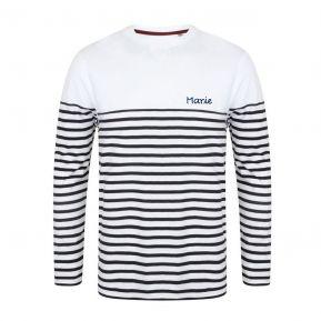 Personalisiertes Langarm-T-Shirt im Matrosendesign