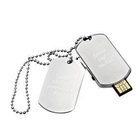 Gravierter USB-Stick 16 GB Erkennungsmarke mit Text
