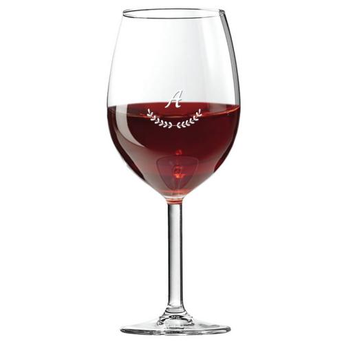 Graviertes Weinglas mit Initialen Palmen