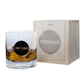 Personalisiertes Whiskyglas Vorname in schwarzem Kreis