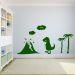 Wandsticker mit Name Dino-Landschaft grün