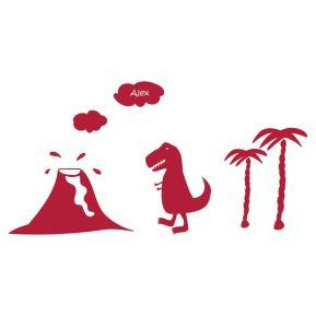 Wandsticker mit Name Dino-Landschaft