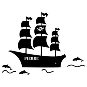 Wandsticker Piratenschiff mit Name