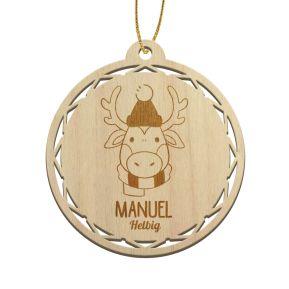Gravierte Weihnachtskugel aus Holz für Kinder mit Tiermotiven