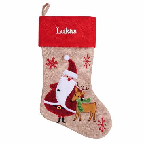 Weihnachtssocken im Leinen-Stil Weihnachtsmann