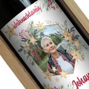Personalisierte Weinflasche mit Weihnachtsfoto