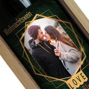 Personalisierte Weinflasche Weihnachtsbaum Foto