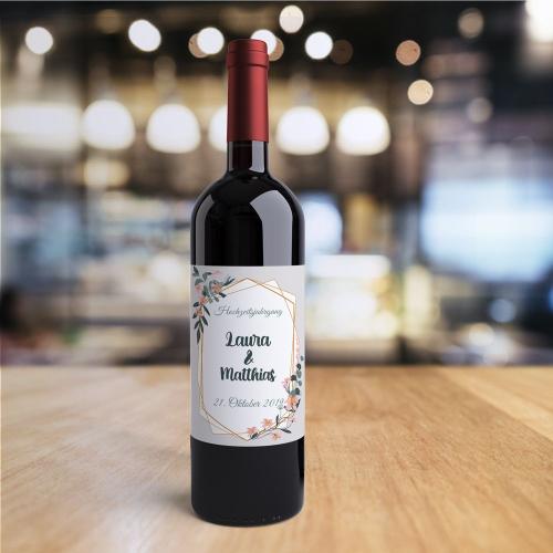 Weinflasche mit personalisiertem Logo Hochzeit