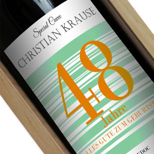 Weinflasche Geburtstag mit Name grün